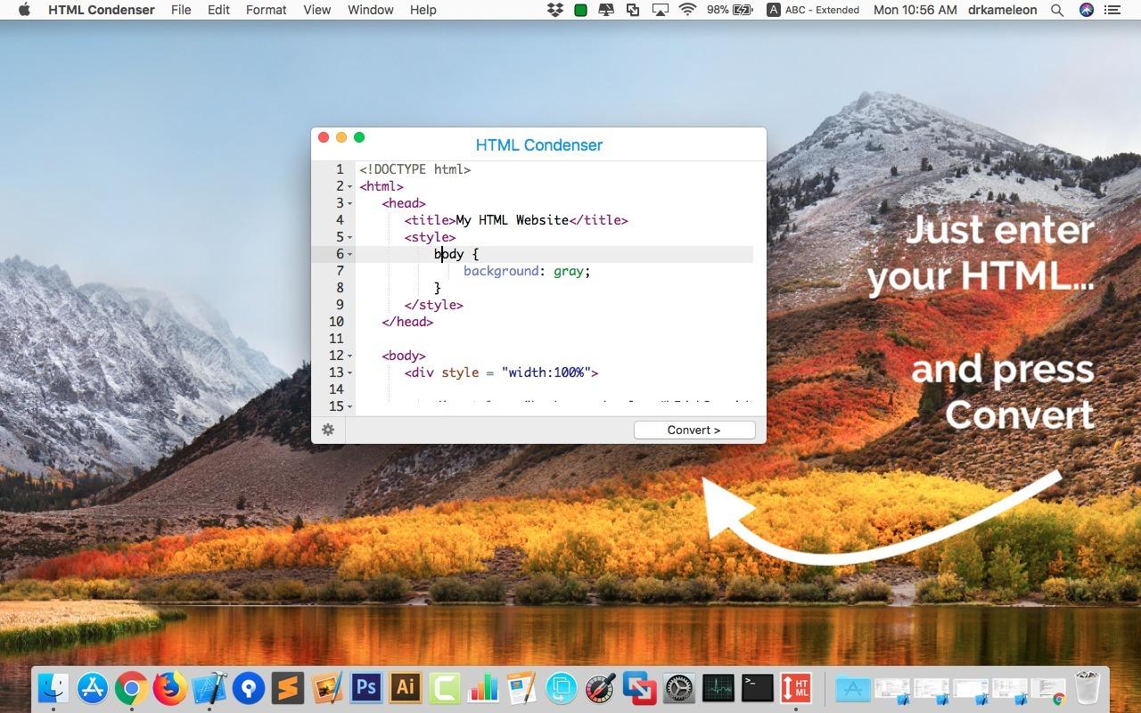 HTML Condenser mac