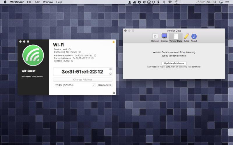 WiFiSpoof mac